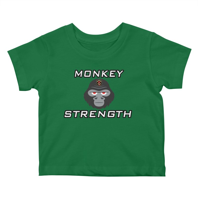 Monkey Strength Kids Baby T-Shirt by Vegetable Conspiracies
