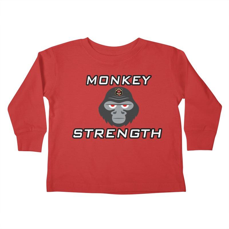Monkey Strength Kids Toddler Longsleeve T-Shirt by Vegetable Police