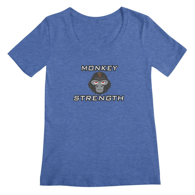 Monkey Strength Women's Regular Scoop Neck by Vegetable Police