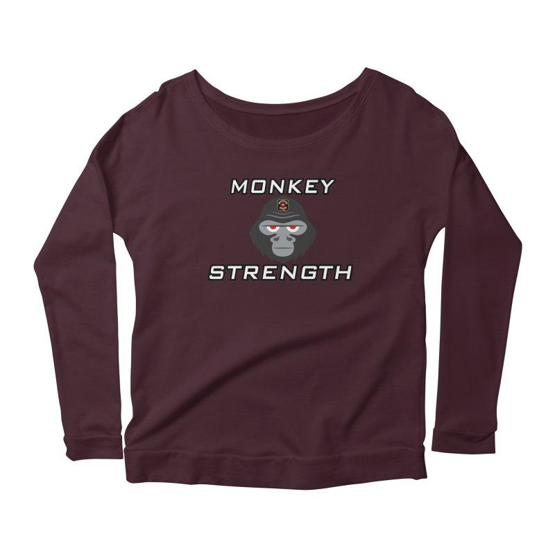 Monkey Strength Women's Scoop Neck Longsleeve T-Shirt by Vegetable Police