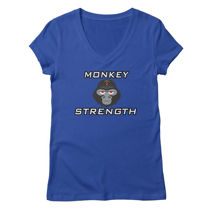 Monkey Strength Women's V-Neck by Vegetable Police