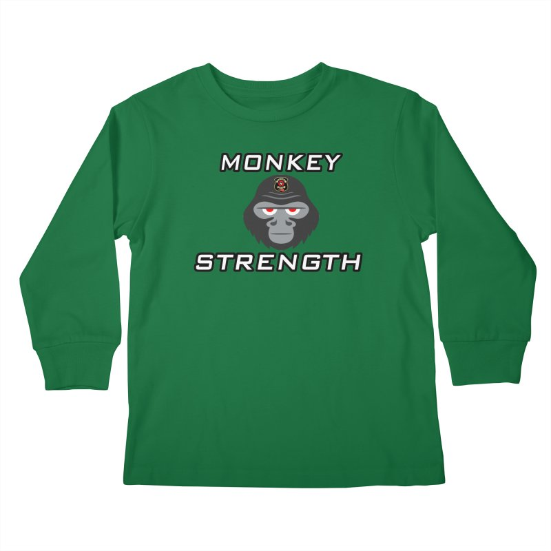 Monkey Strength Kids Longsleeve T-Shirt by Vegetable Police