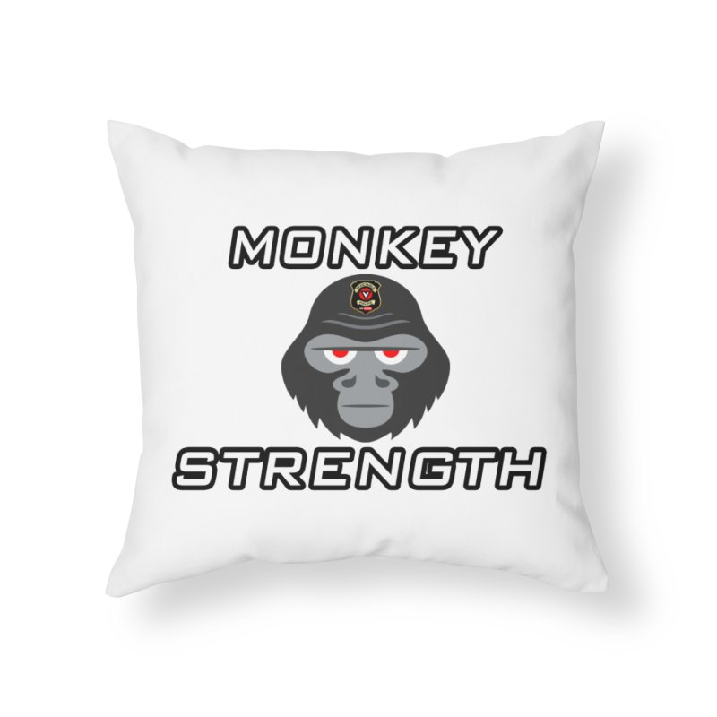 Monkey Strength Home Throw Pillow by Vegetable Police