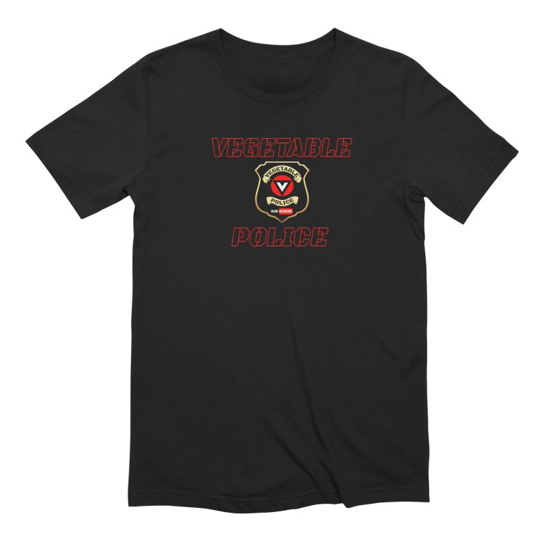 Vegetable Police (Black Text) in Men's Extra Soft T-Shirt Black by Vegetable Police