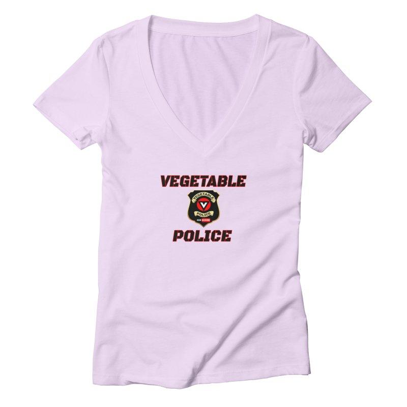 Vegetable Police (Black Text) Women's Deep V-Neck V-Neck by Vegetable Police