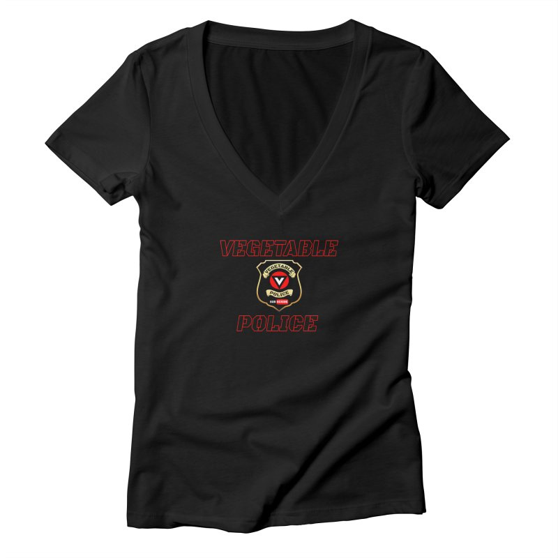 Vegetable Police (Black Text) Women's Deep V-Neck V-Neck by Vegetable Police