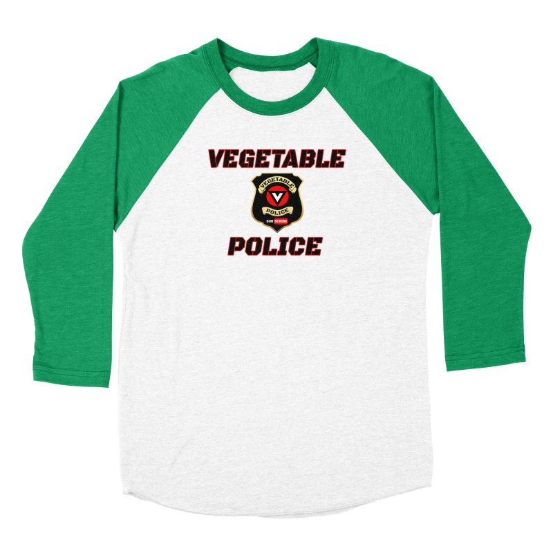 Vegetable Police (Black Text) Women's Baseball Triblend Longsleeve T-Shirt by Vegetable Police