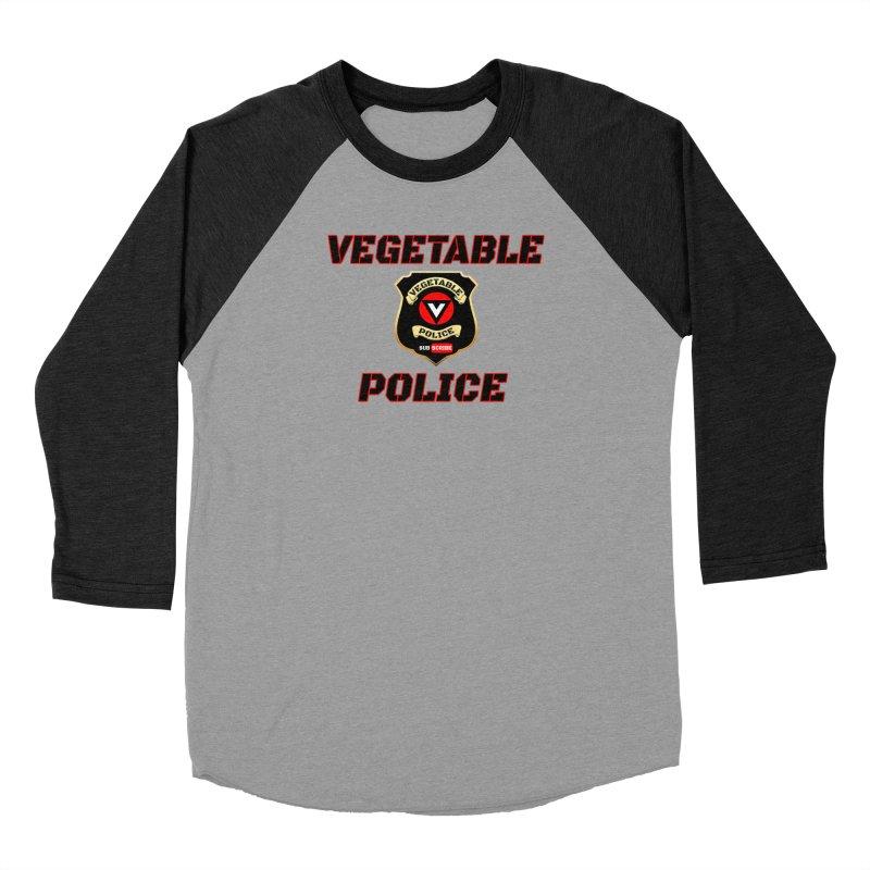 Vegetable Police (Black Text) Men's Baseball Triblend Longsleeve T-Shirt by Vegetable Police