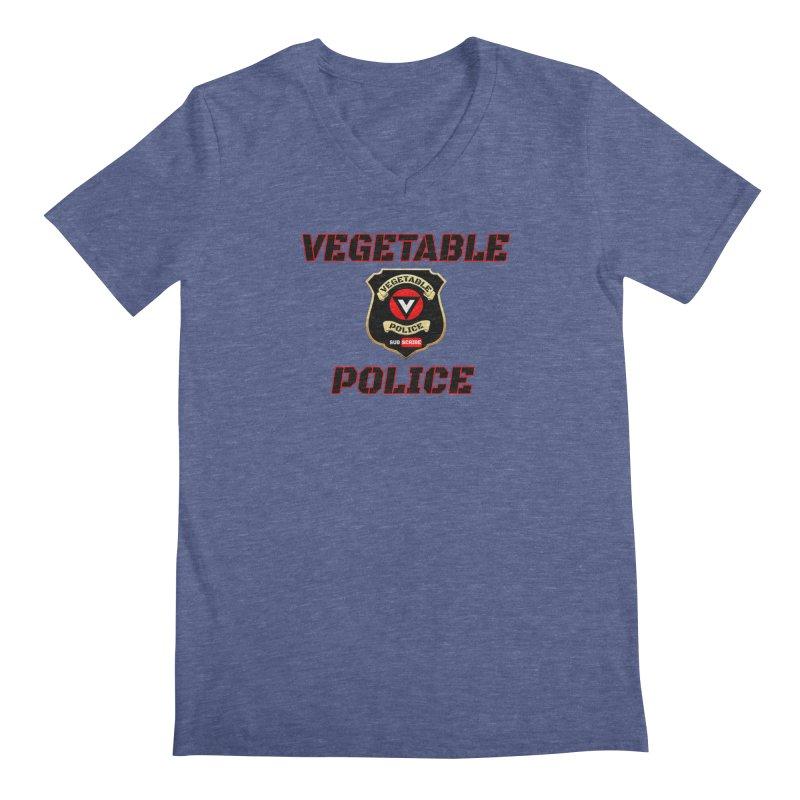 Vegetable Police (Black Text) Men's Regular V-Neck by Vegetable Police