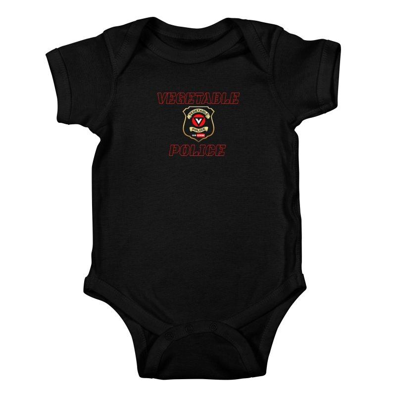 Vegetable Police (Black Text) Kids Baby Bodysuit by Vegetable Police