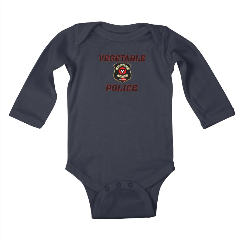 Vegetable Police (Black Text) Kids Baby Longsleeve Bodysuit by Vegetable Police