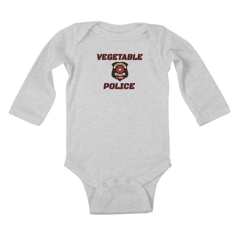 Vegetable Police (Black Text) Kids Baby Longsleeve Bodysuit by Vegetable Police