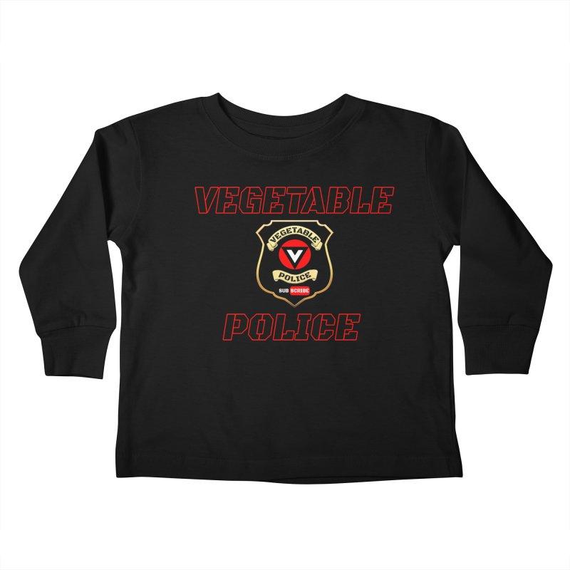 Vegetable Police (Black Text) Kids Toddler Longsleeve T-Shirt by Vegetable Police