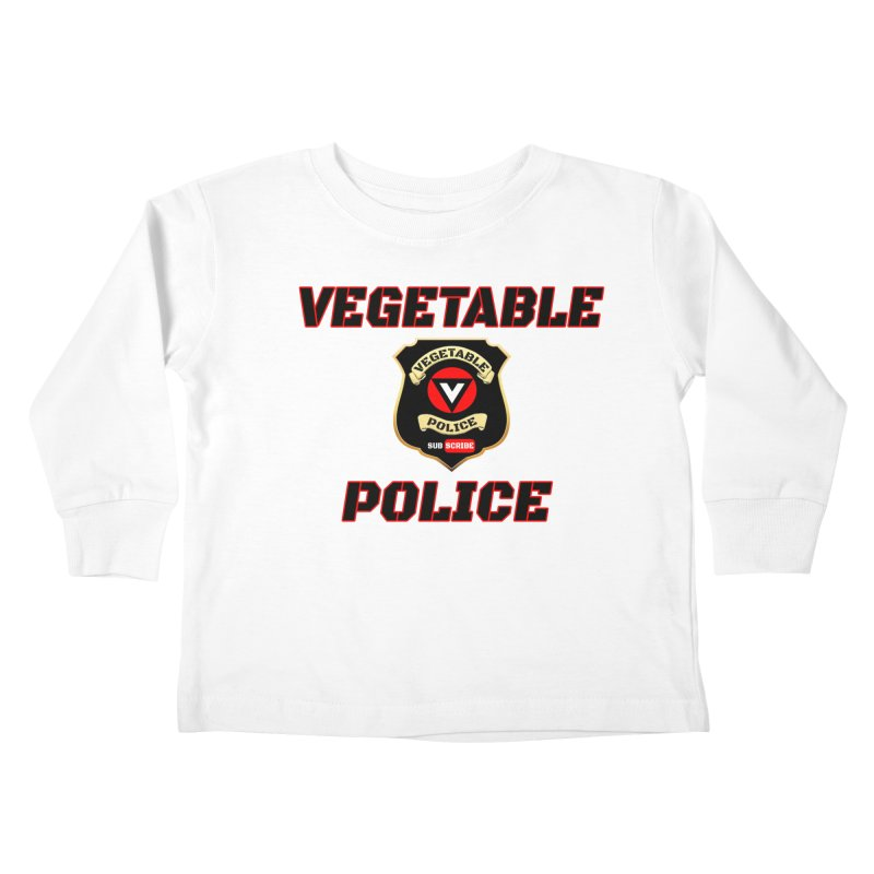 Vegetable Police (Black Text) Kids Toddler Longsleeve T-Shirt by Vegetable Police