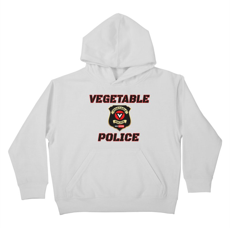Vegetable Police (Black Text) Kids Pullover Hoody by Vegetable Police