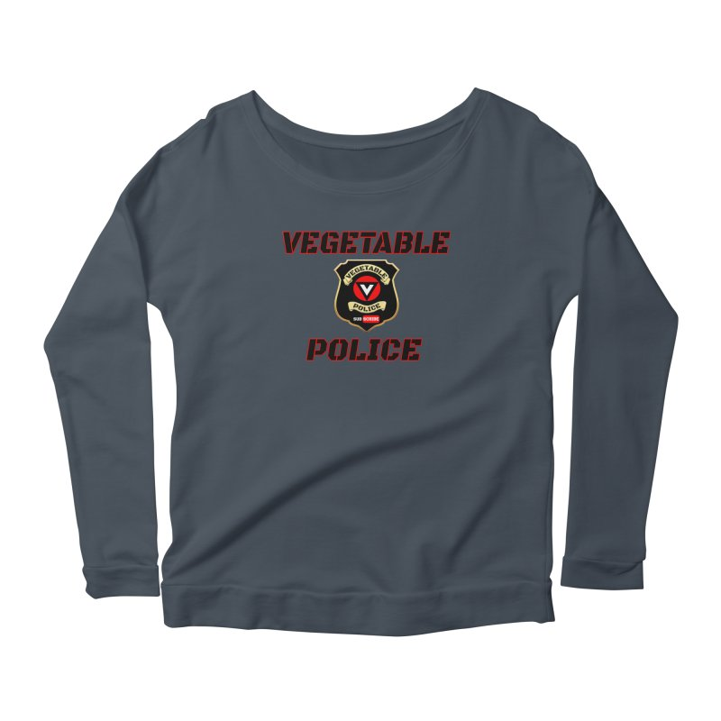 Vegetable Police (Black Text) Women's Scoop Neck Longsleeve T-Shirt by Vegetable Police