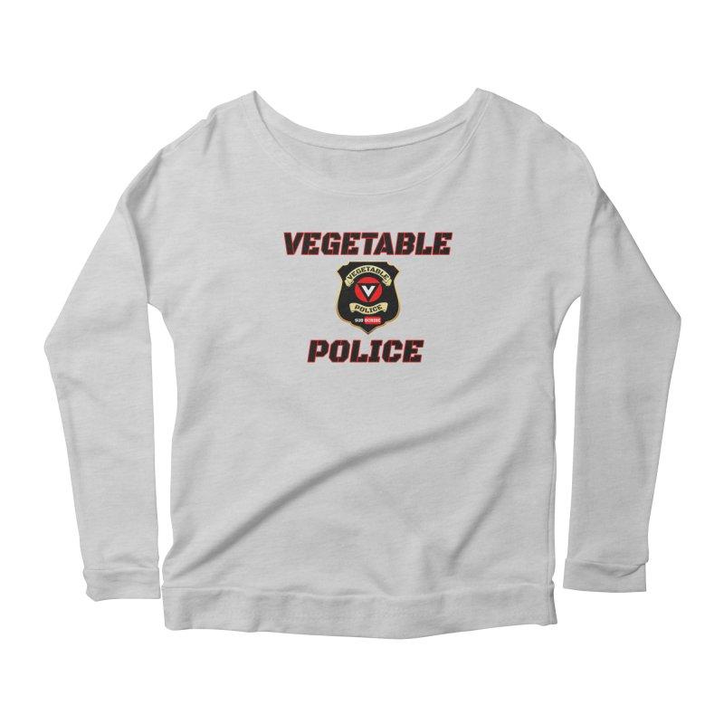 Vegetable Police (Black Text) Women's Scoop Neck Longsleeve T-Shirt by Vegetable Police
