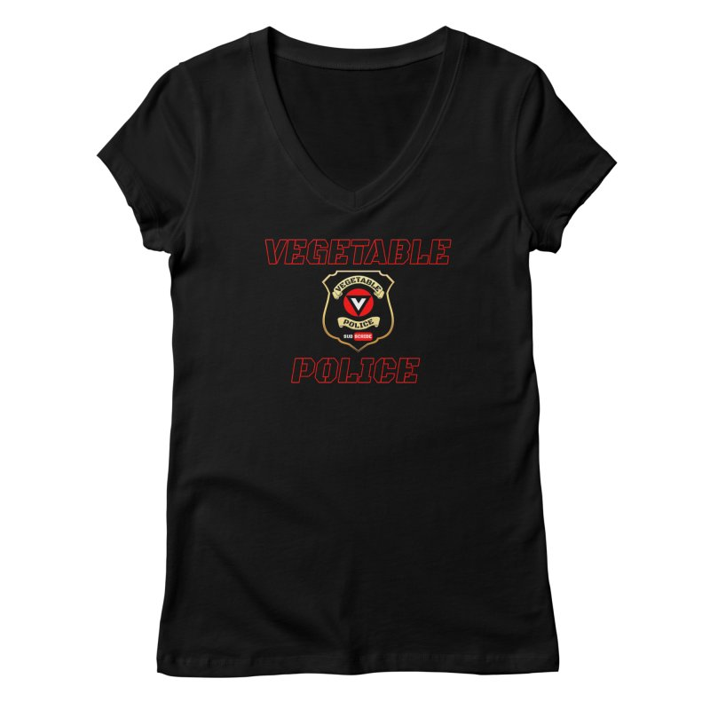Vegetable Police (Black Text) Women's V-Neck by Vegetable Police