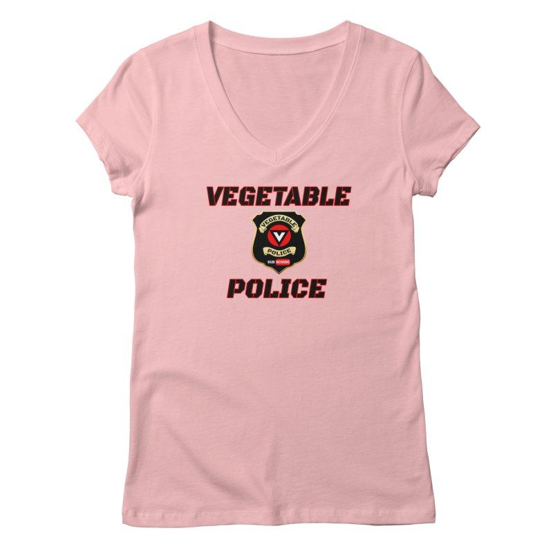 Vegetable Police (Black Text) Women's Regular V-Neck by Vegetable Police