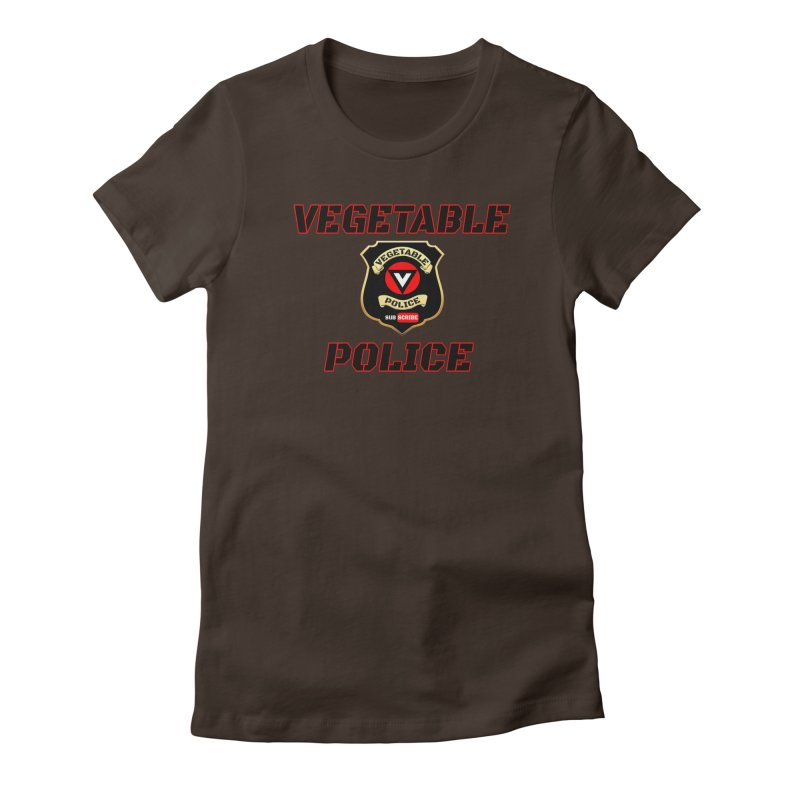 Vegetable Police (Black Text) Women's Fitted T-Shirt by Vegetable Police