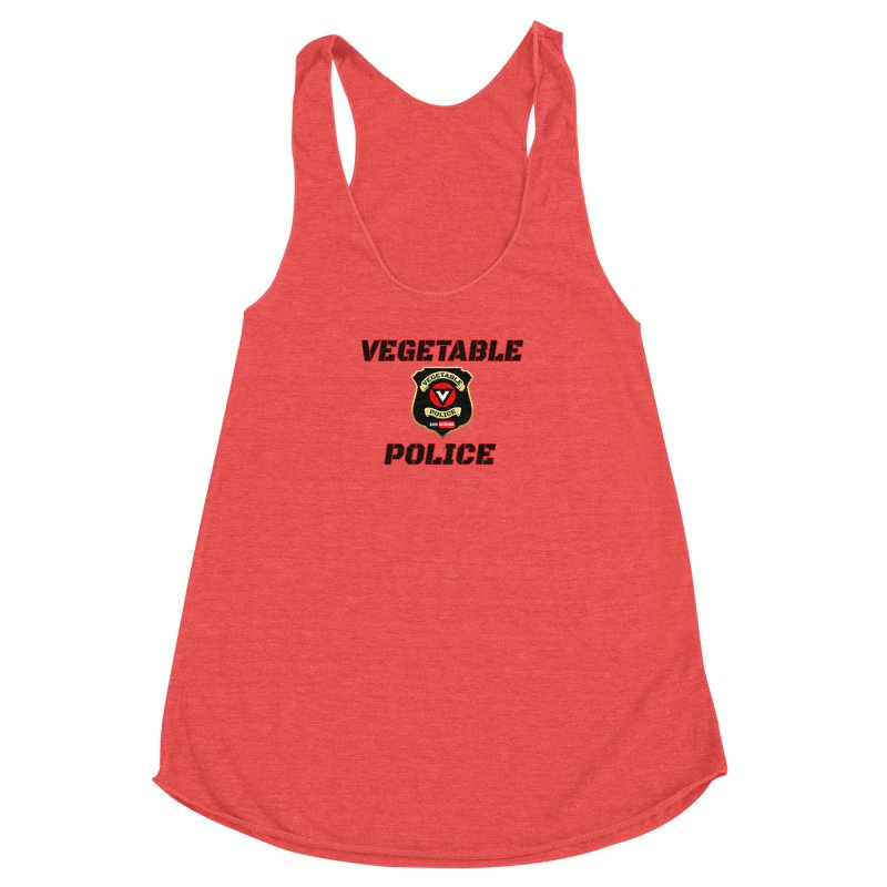 Vegetable Police (Black Text) Women's Racerback Triblend Tank by Vegetable Police