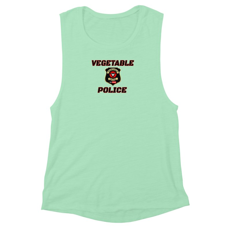Vegetable Police (Black Text) Women's Muscle Tank by Vegetable Police