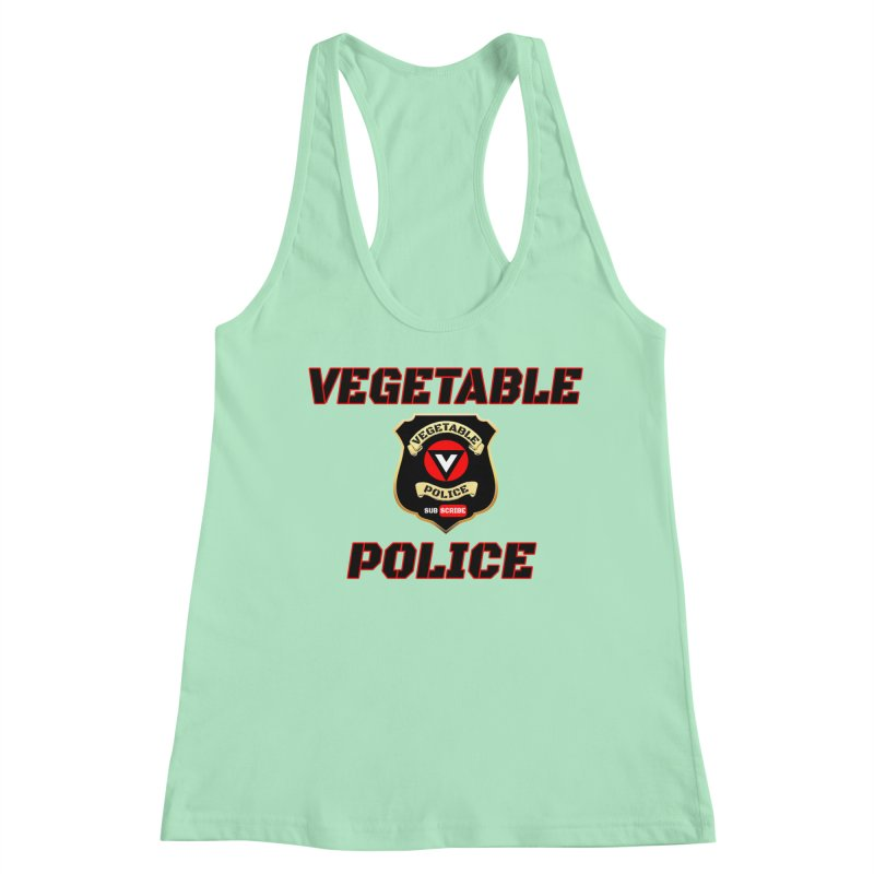 Vegetable Police (Black Text) Women's Racerback Tank by Vegetable Police