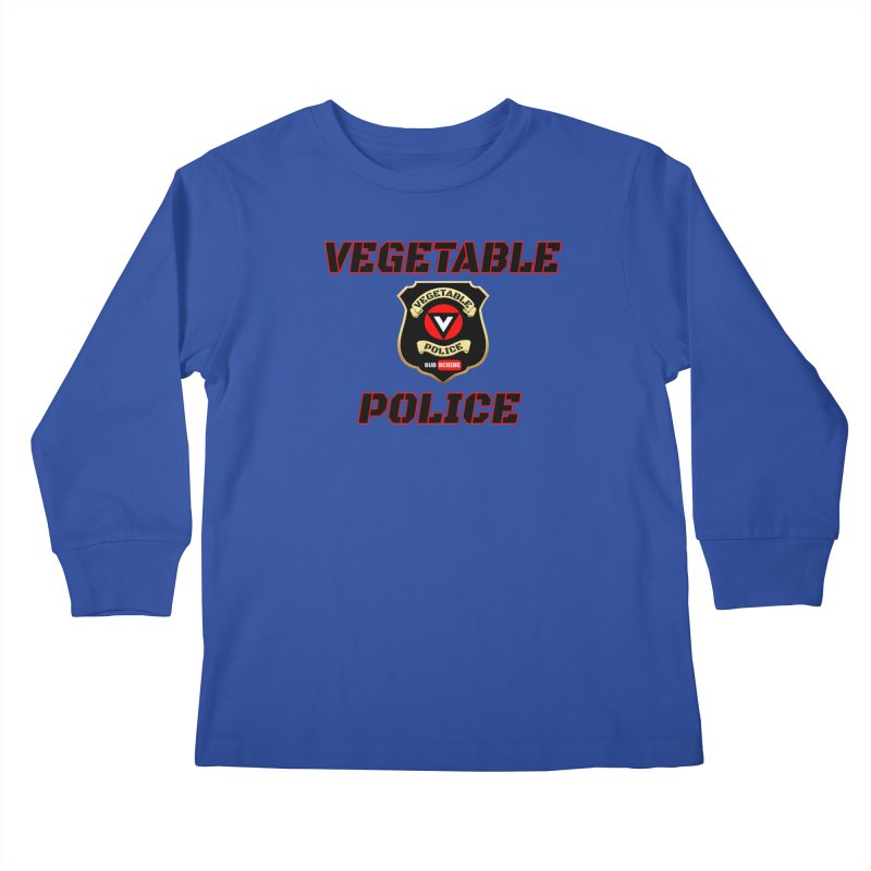Vegetable Police (Black Text) Kids Longsleeve T-Shirt by Vegetable Police