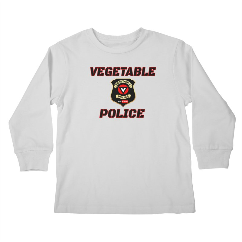 Vegetable Police (Black Text) Kids Longsleeve T-Shirt by Vegetable Police