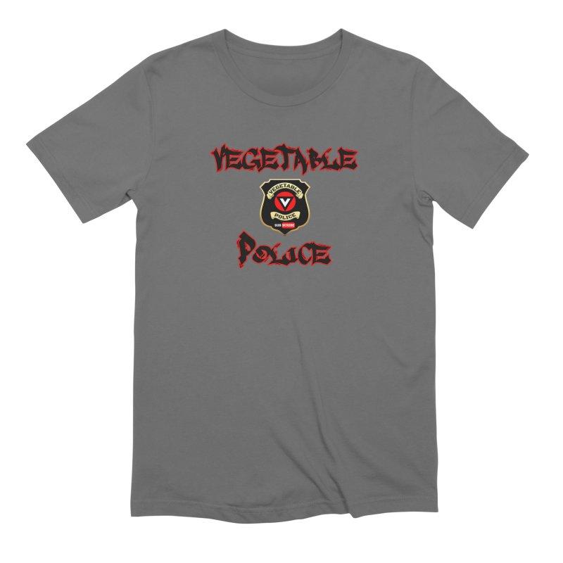 Vegetable Police Undercover (Black Graffiti) in Men's Extra Soft T-Shirt Asphalt by Vegetable Police