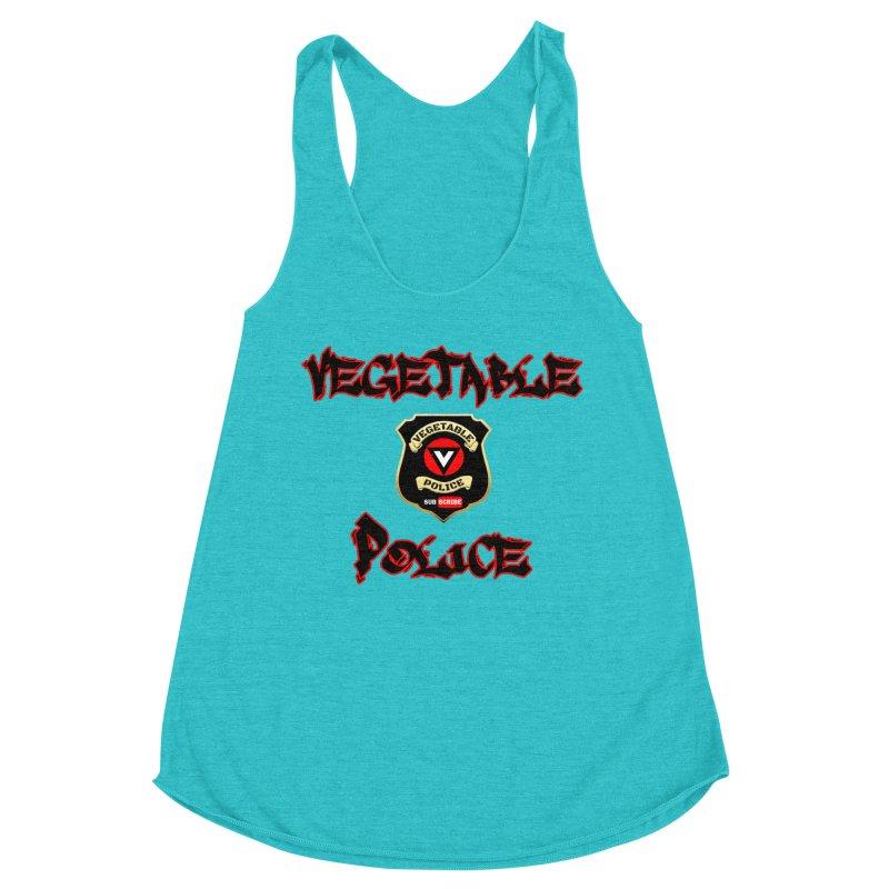 Vegetable Police Undercover (Black Graffiti) Women's Racerback Triblend Tank by Vegetable Police