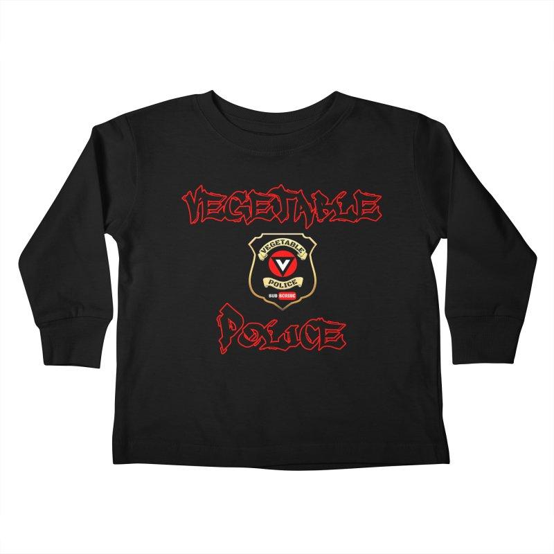 Vegetable Police Undercover (Black Graffiti) Kids Toddler Longsleeve T-Shirt by Vegetable Police