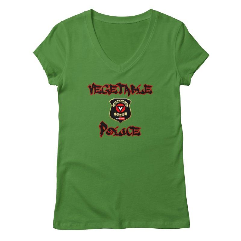 Vegetable Police Undercover (Black Graffiti) Women's V-Neck by Vegetable Police