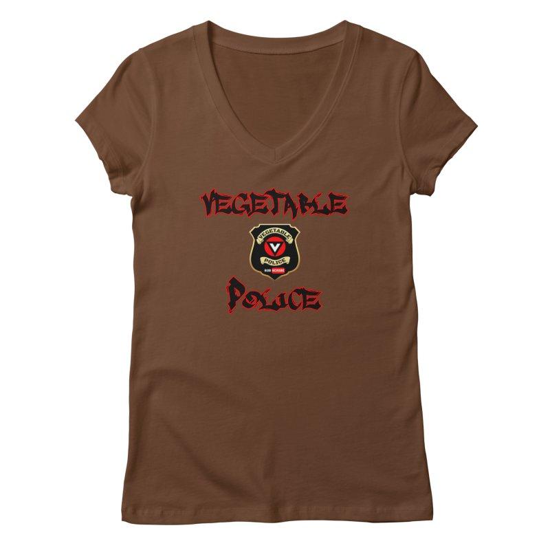 Vegetable Police Undercover (Black Graffiti) Women's Regular V-Neck by Vegetable Police