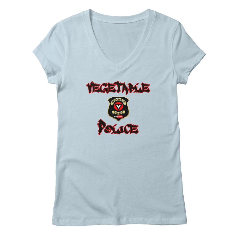 Vegetable Police Undercover (Black Graffiti) Women's Regular V-Neck by Vegetable Police