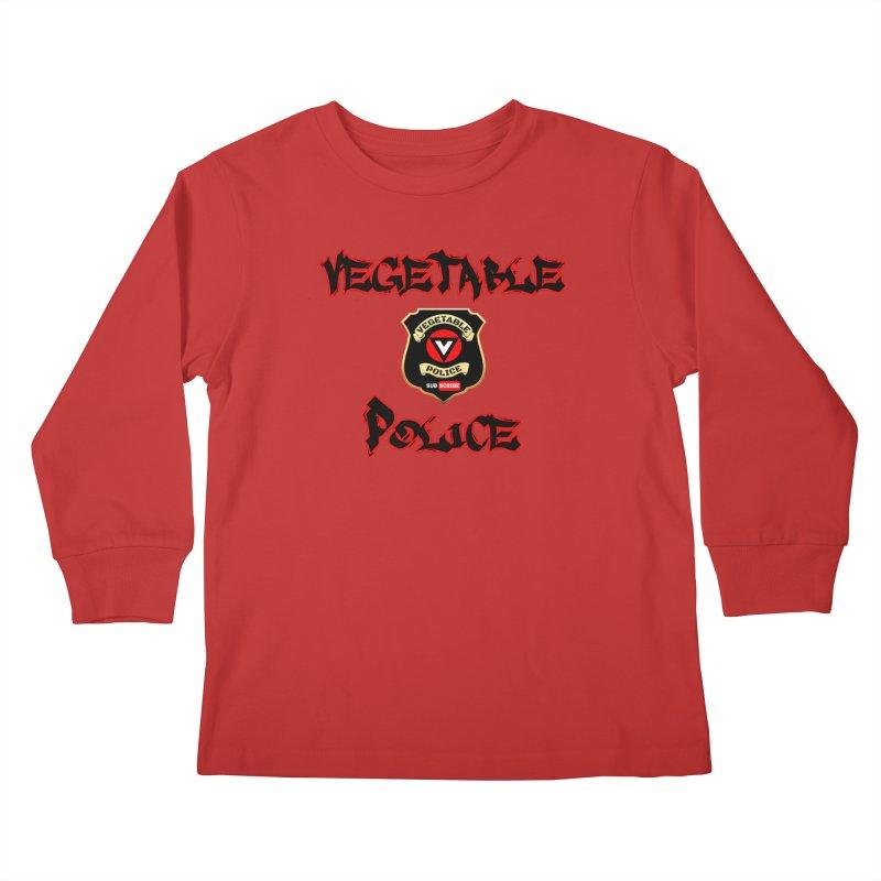 Vegetable Police Undercover (Black Graffiti) Kids Longsleeve T-Shirt by Vegetable Police