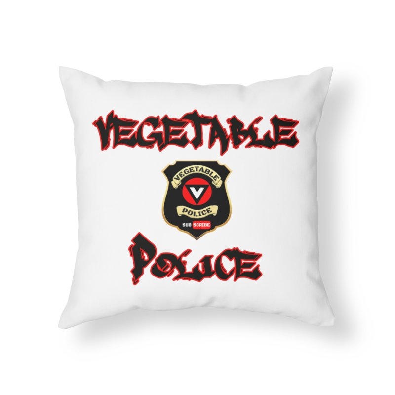 Vegetable Police Undercover (Black Graffiti) Home Throw Pillow by Vegetable Police