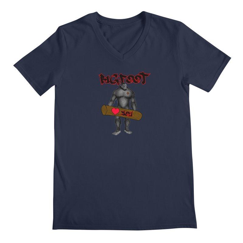 Bigfoot Men's Regular V-Neck by Vegetable Police