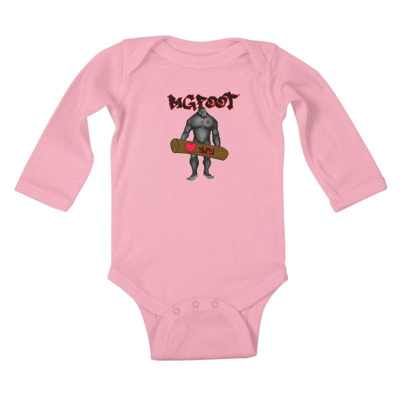 Bigfoot Kids Baby Longsleeve Bodysuit by Vegetable Police