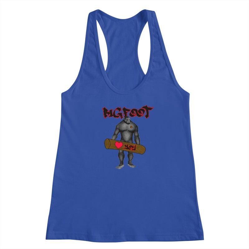 Bigfoot Women's Racerback Tank by Vegetable Police