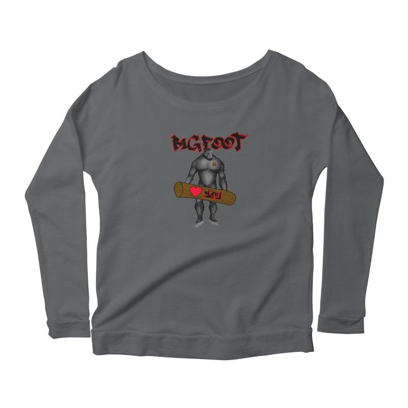 Bigfoot Women's Scoop Neck Longsleeve T-Shirt by Vegetable Police