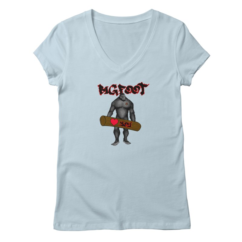 Bigfoot Women's Regular V-Neck by Vegetable Police