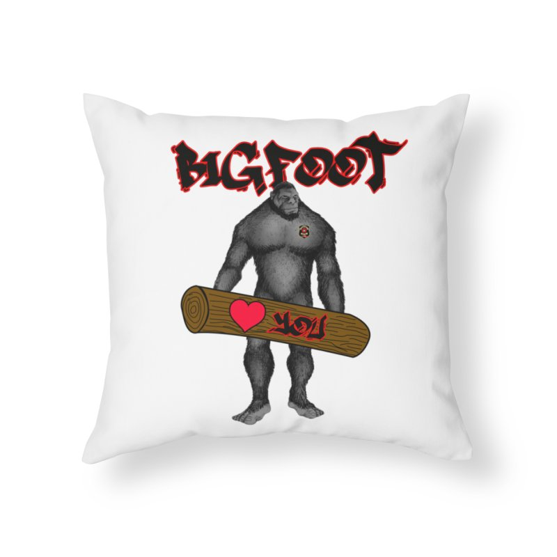 Bigfoot Home Throw Pillow by Vegetable Police