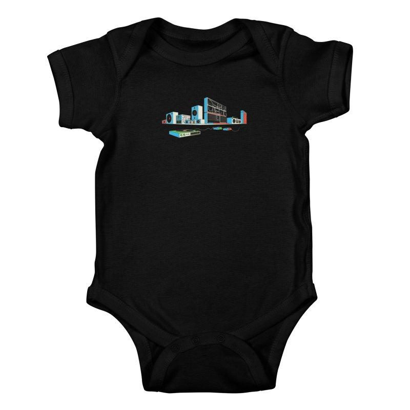 Boombox City Kids Baby Bodysuit by velcrowolf