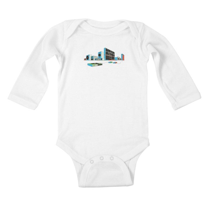 Boombox City Kids Baby Longsleeve Bodysuit by velcrowolf