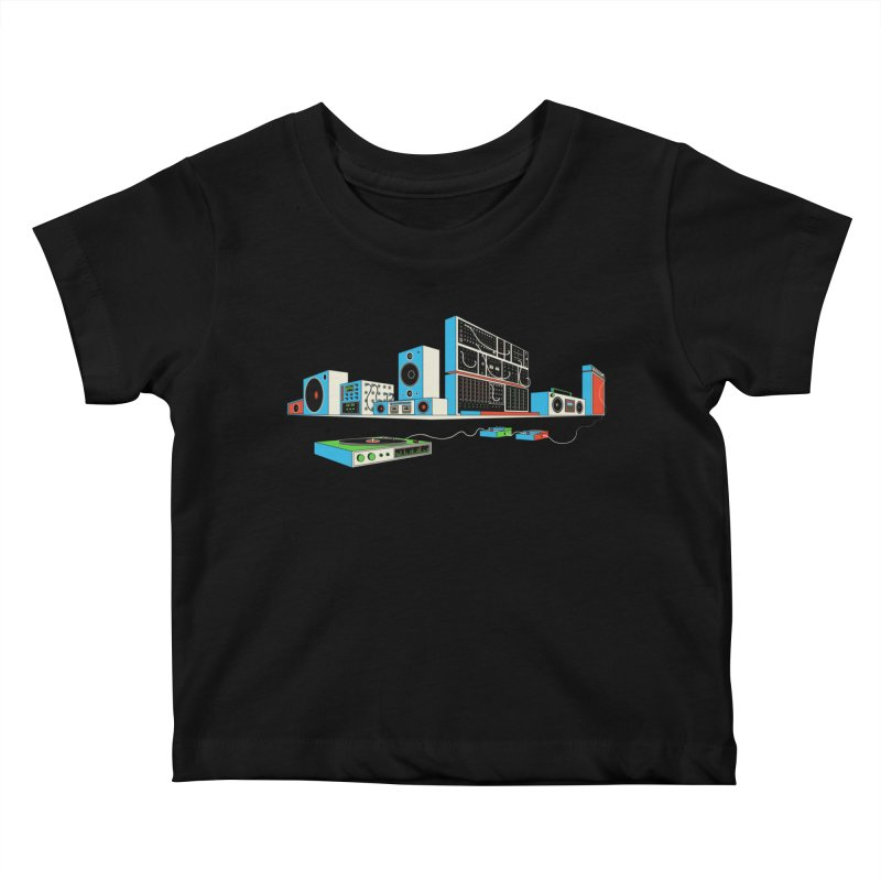 Boombox City Kids Baby T-Shirt by velcrowolf