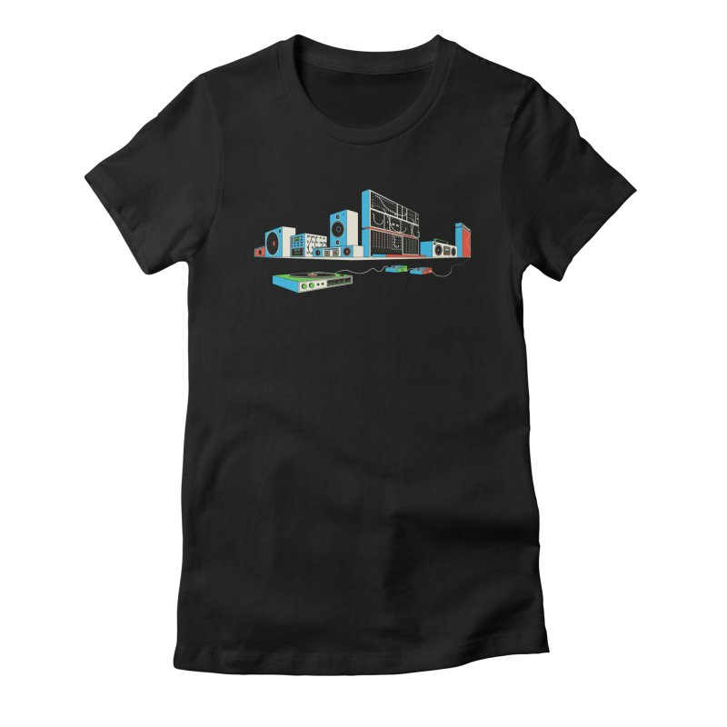 Boombox City Women's Fitted T-Shirt by velcrowolf