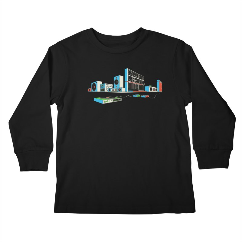 Boombox City Kids Longsleeve T-Shirt by velcrowolf