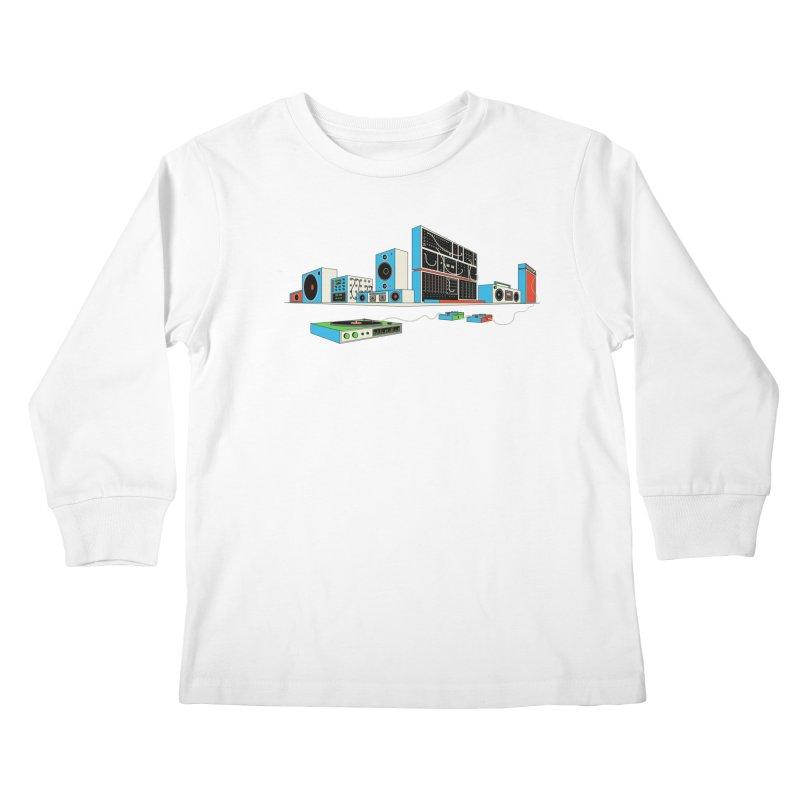 Boombox City Kids Longsleeve T-Shirt by velcrowolf