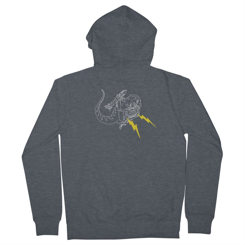 Tyrannosaurus with a Boombox Men's Zip-Up Hoody by velcrowolf